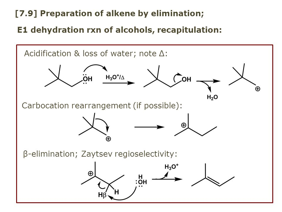 [7.9] Preparation of alkene by elimination;